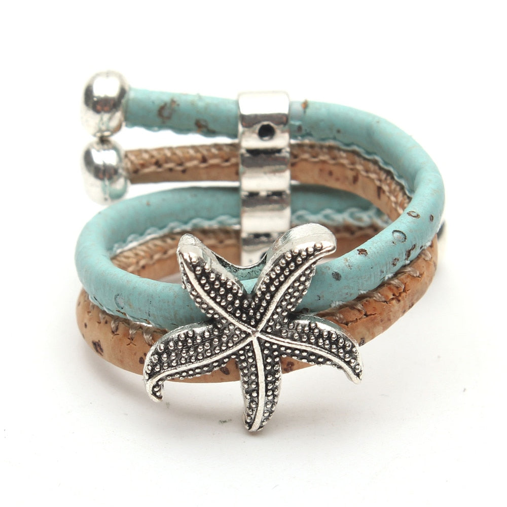 ring, Blue Sky Seastar ring - movevegan, vegan fashion product trends, cork, animal free
