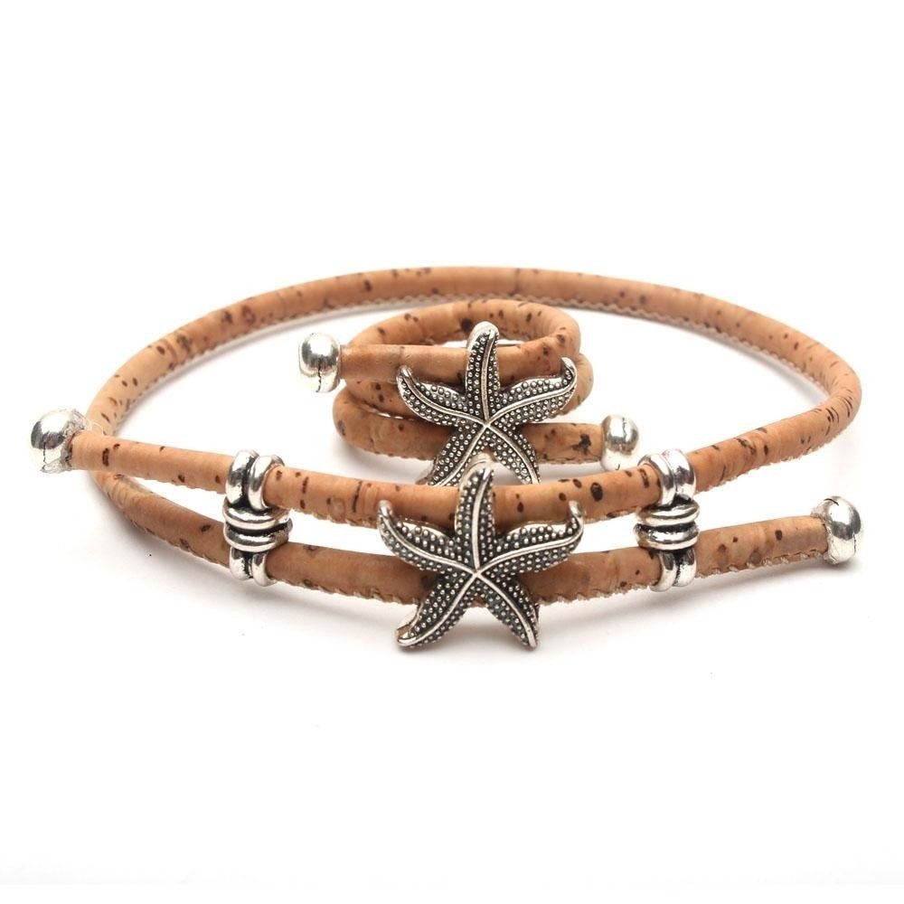 ring and bracelet, Sea Star Ring And Bracelet - movevegan, vegan fashion product trends, cork, animal free