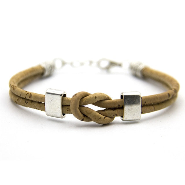 bracelet, Knotted Cork Bracelet w/ Silver Plate - movevegan, vegan fashion product trends, cork, animal free
