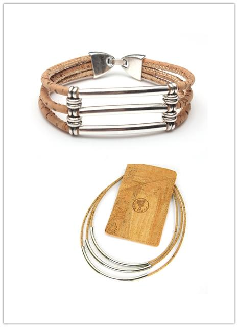 necklace, Casual metal grid necklace & bracelet - movevegan, vegan fashion product trends, cork, animal free