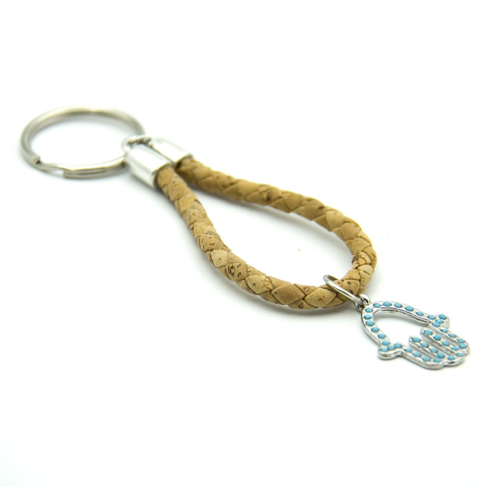 keychain, Blue grasp keychain - movevegan, vegan fashion product trends, cork, animal free