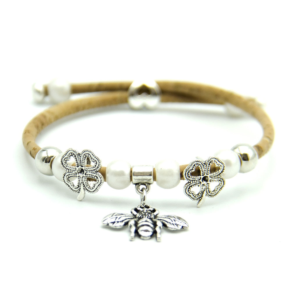 bracelet, Lovely bee pearl bracelet - movevegan, vegan fashion product trends, cork, animal free