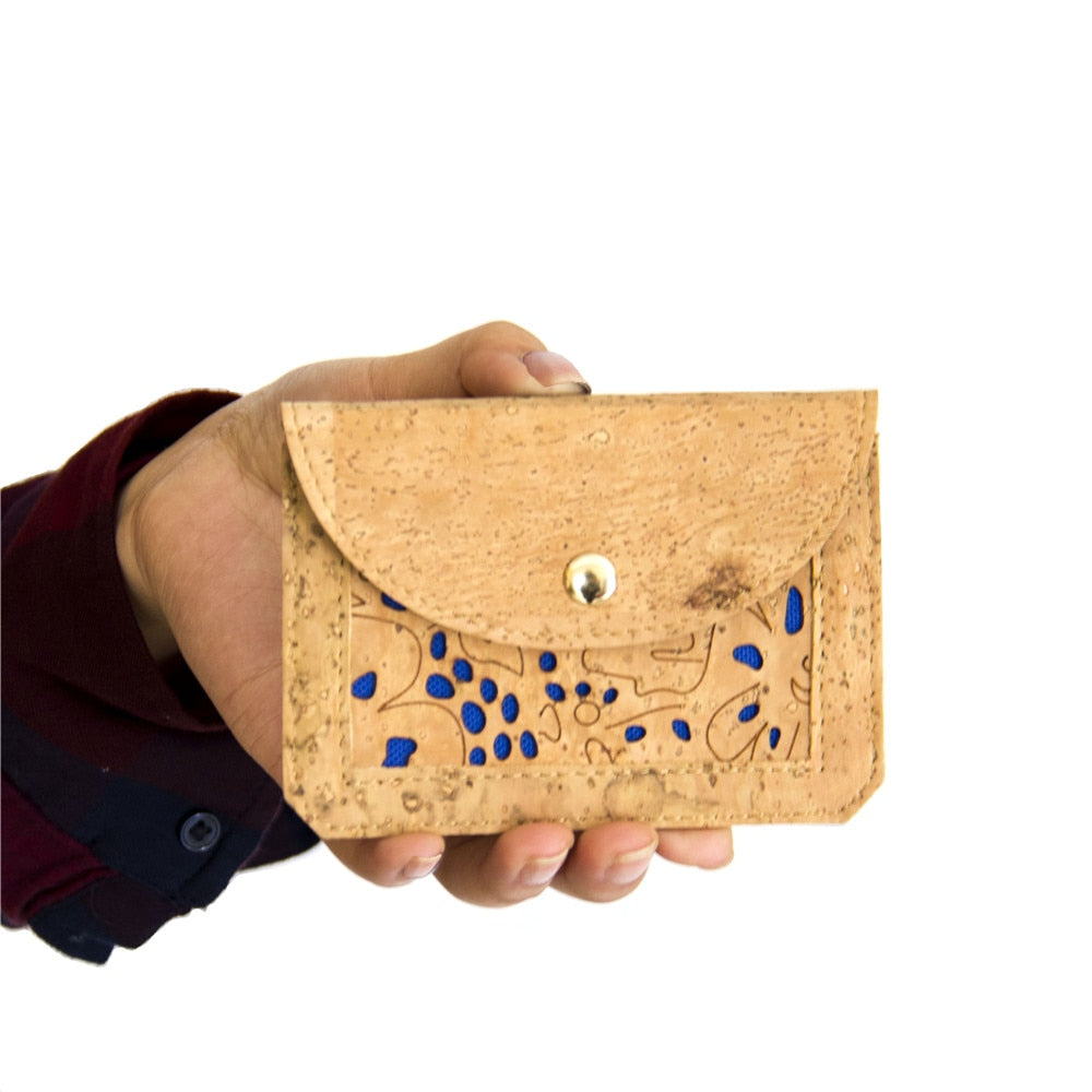 wallet, Blue flower stamps coin purse - movevegan, vegan fashion product trends, cork, animal free