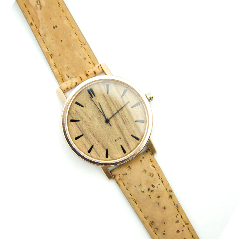 watch, Simple cork quartz watch with stainless steel - movevegan, vegan fashion product trends, cork, animal free