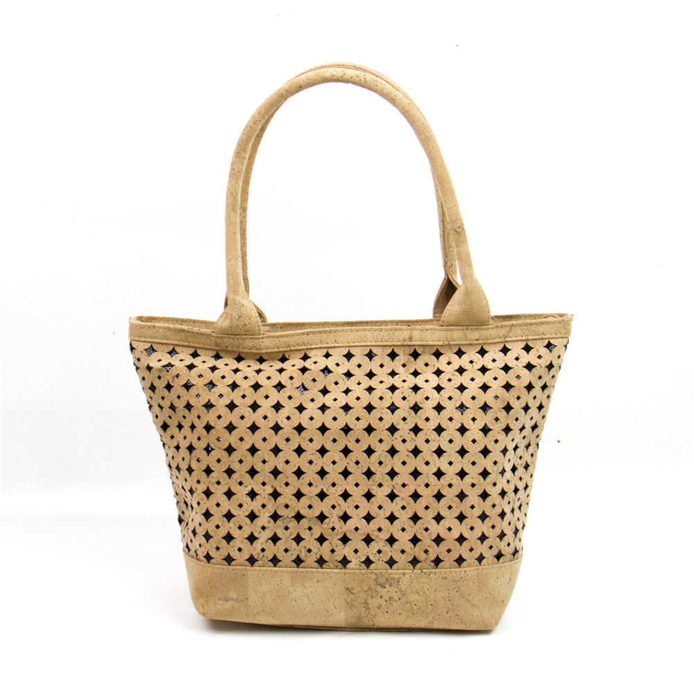 bag, Cork Leather Handbag w/ Perforation Pattern - movevegan, vegan fashion product trends, cork, animal free