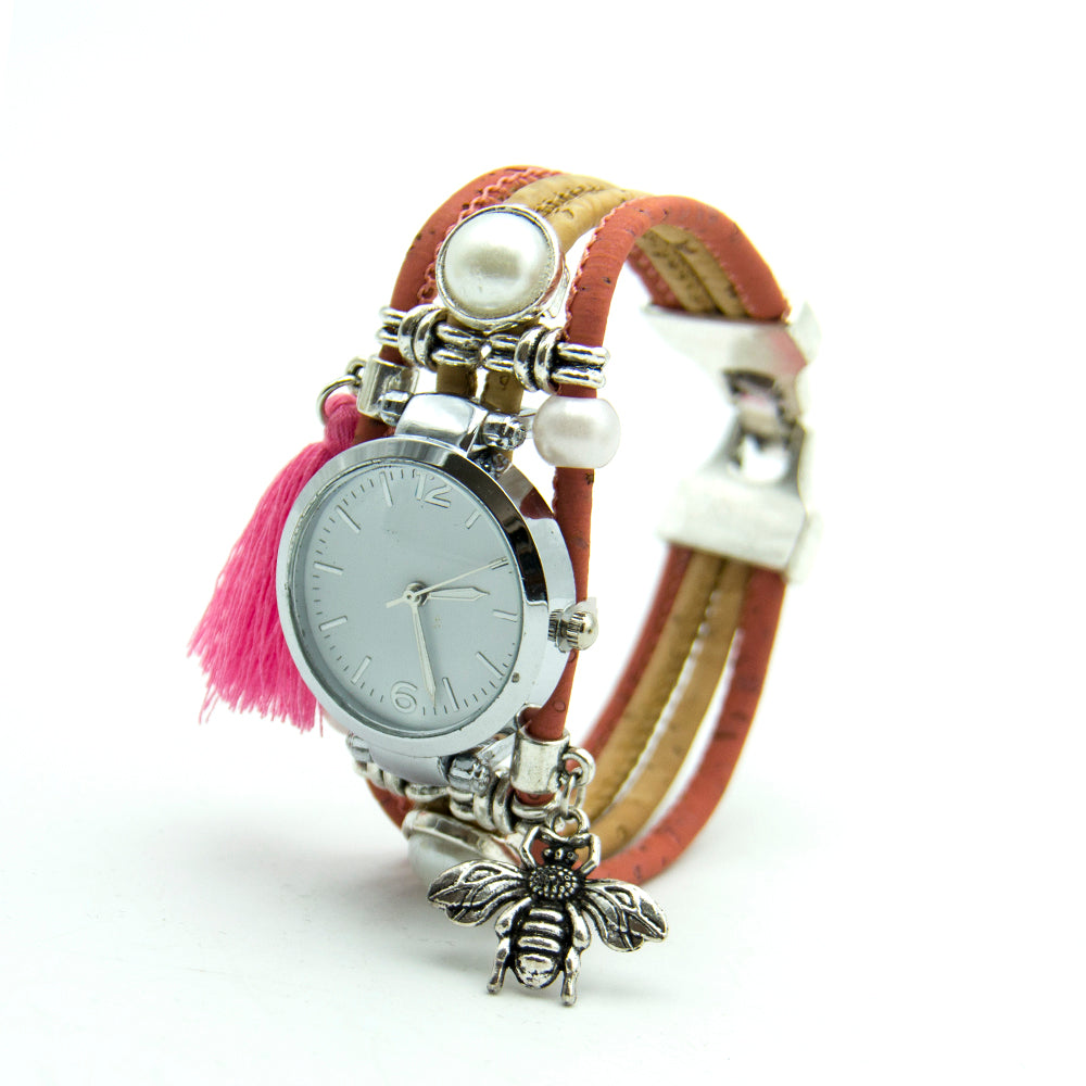 watch, Simple Pink Decoration Watch with bee patch - movevegan, vegan fashion product trends, cork, animal free
