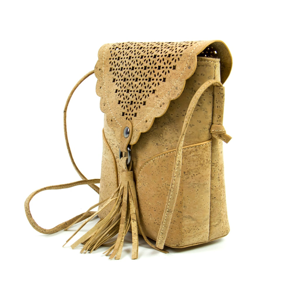 bag, Cornered Handbag w/ Western Style Tassel and Laser Cut - movevegan, vegan fashion product trends, cork, animal free