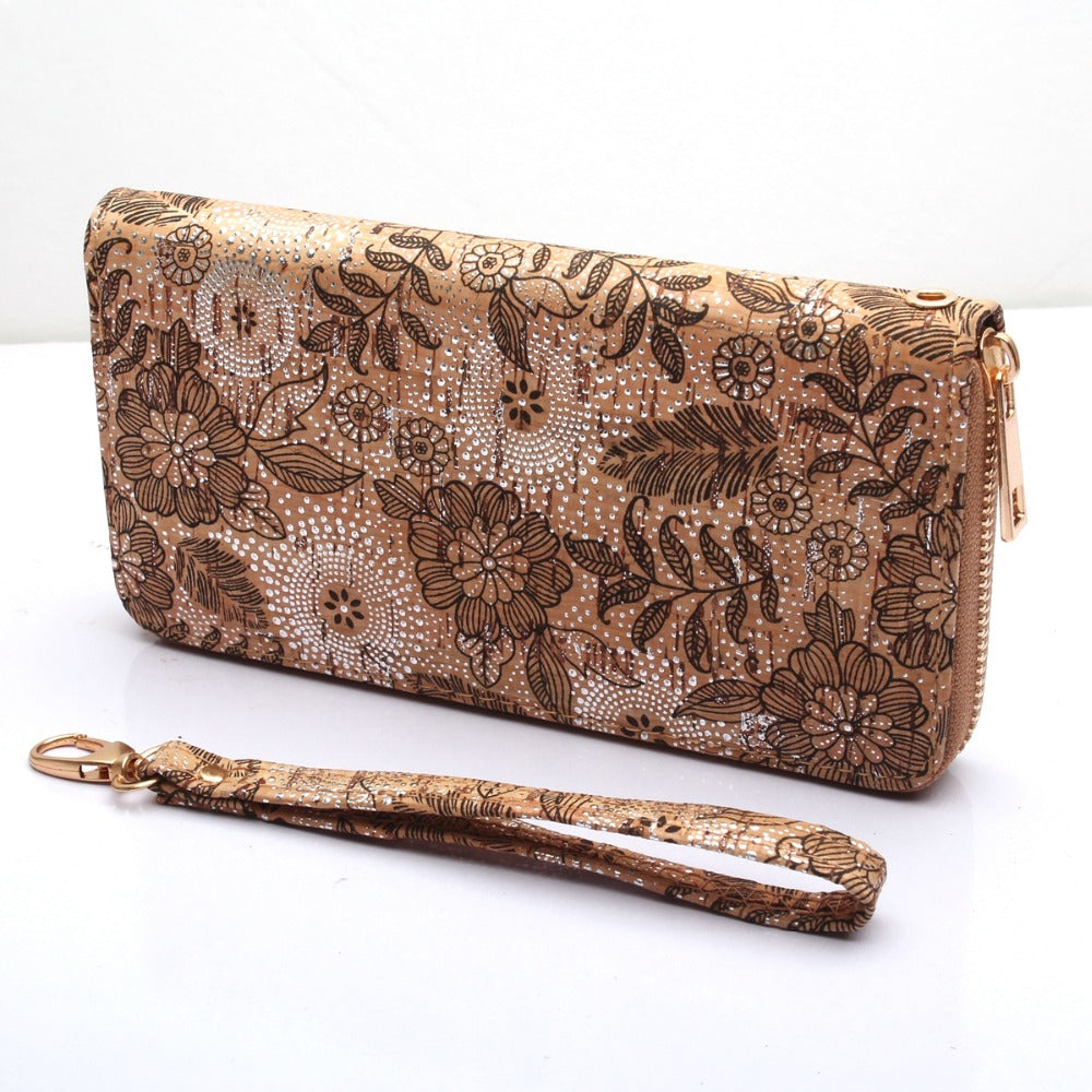 wallet, Silver dotted floral print wallet - movevegan, vegan fashion product trends, cork, animal free