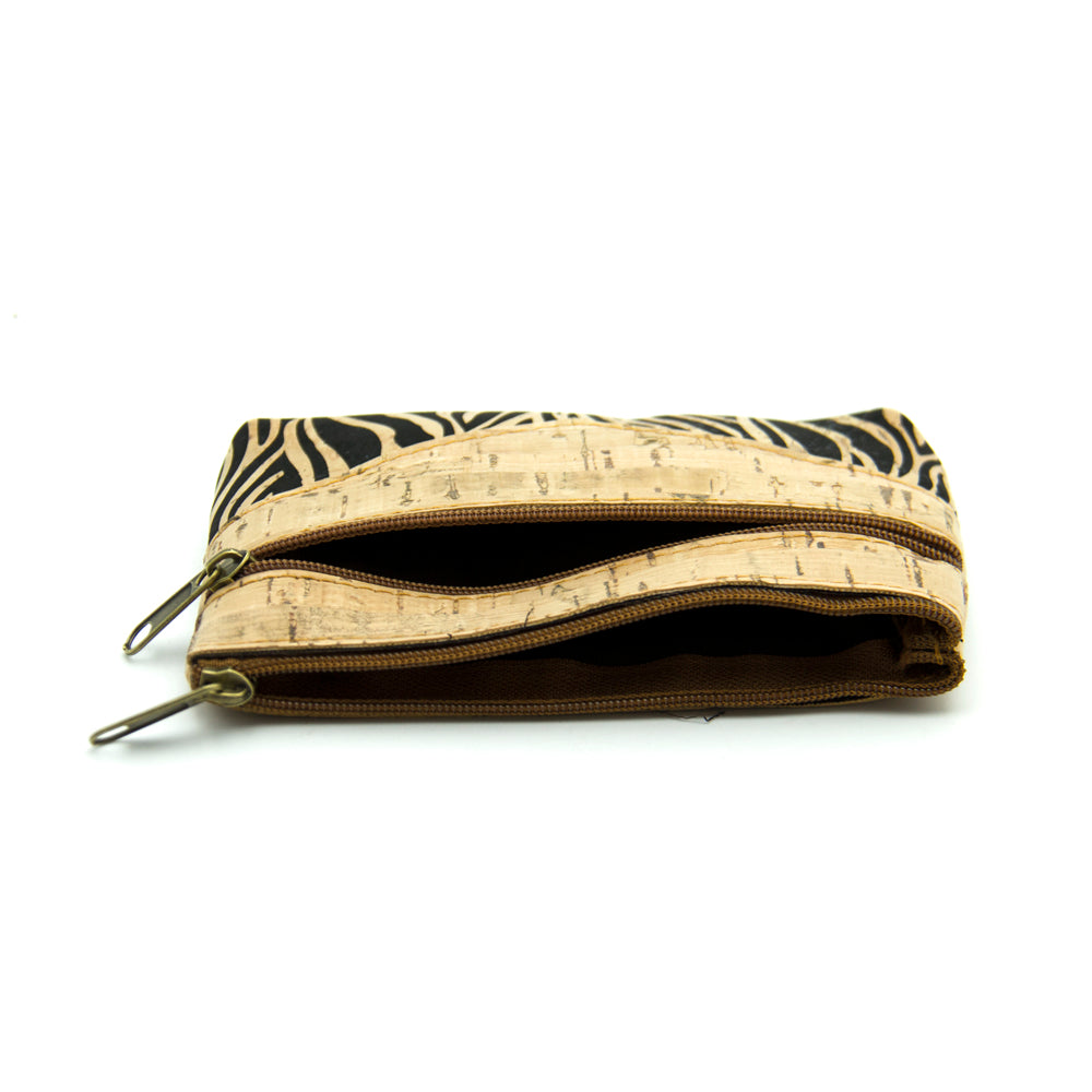 wallet, Vegan Coin Purse w/ Zebra Print - movevegan, vegan fashion product trends, cork, animal free
