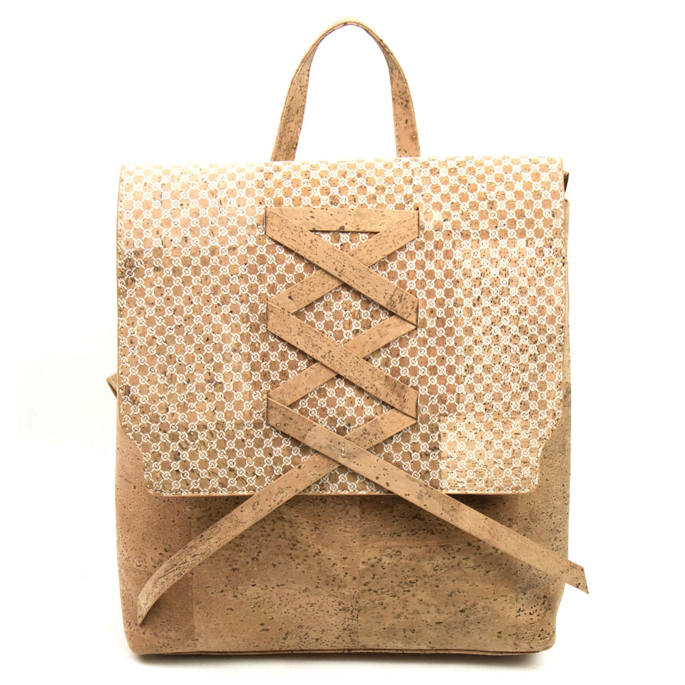 bag, Weave Patterned Triplet Backpack - Shoulder-, Back- And Handbag - movevegan, vegan fashion product trends, cork, animal free