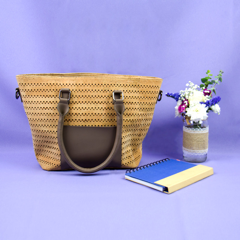 women bag, Vegan Tote Bag w/ Perforation and PU Leather - movevegan, vegan fashion product trends, cork, animal free