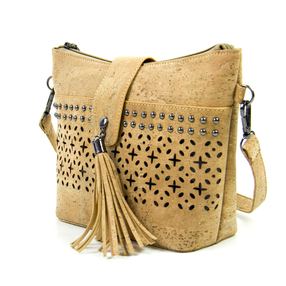 bag, Vegan Tote Bag w/ Laser Cut, Metal Attached Tassel and Studs - movevegan, vegan fashion product trends, cork, animal free