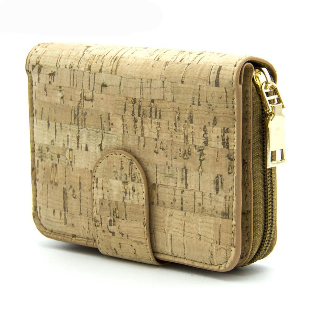 wallet, Golden Square Purse w/ Zipper - movevegan, vegan fashion product trends, cork, animal free