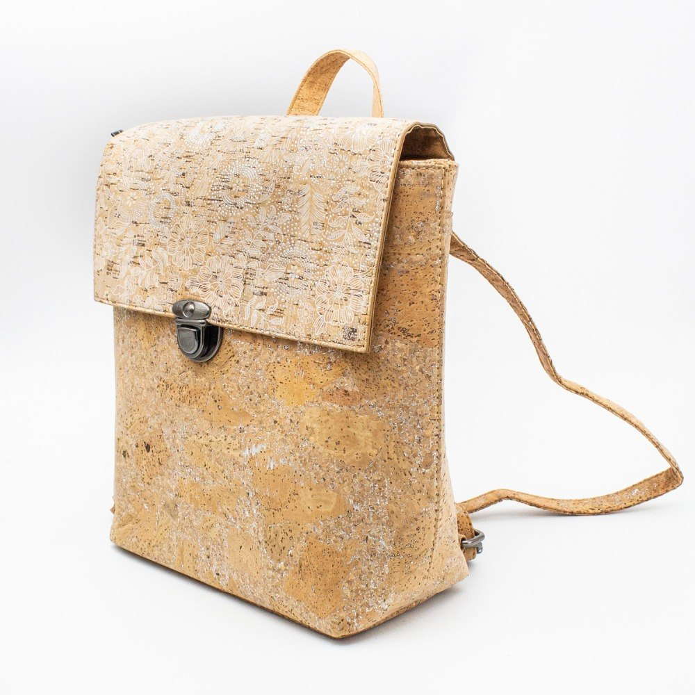 bag, Backpack w/ silver draw details - movevegan, vegan fashion product trends, cork, animal free