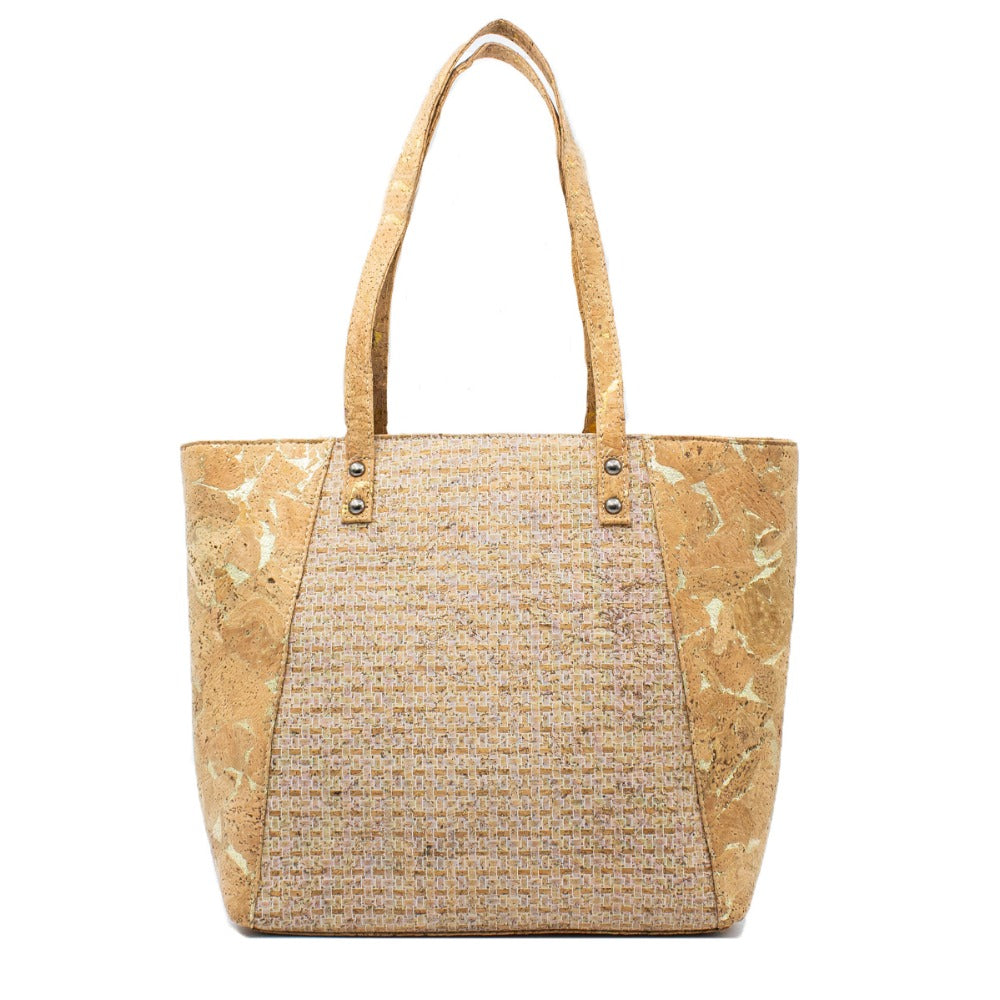 bag, white grid cork tote handbag - movevegan, vegan fashion product trends, cork, animal free