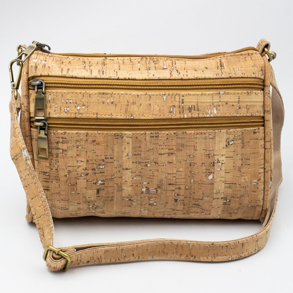 bag, womens cork shoulder bag w/ silver details - movevegan, vegan fashion product trends, cork, animal free