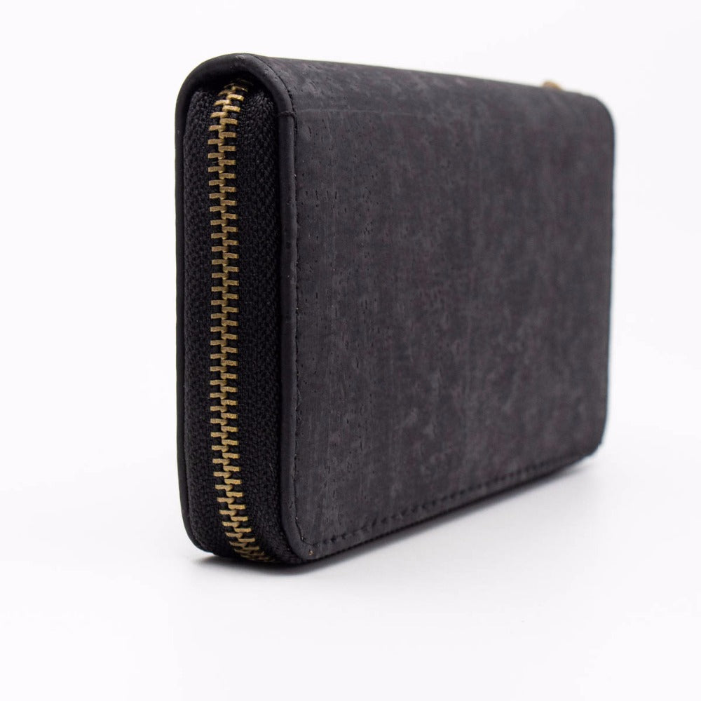 wallet, Long black cork wallet w/ hand loop. - movevegan, vegan fashion product trends, cork, animal free
