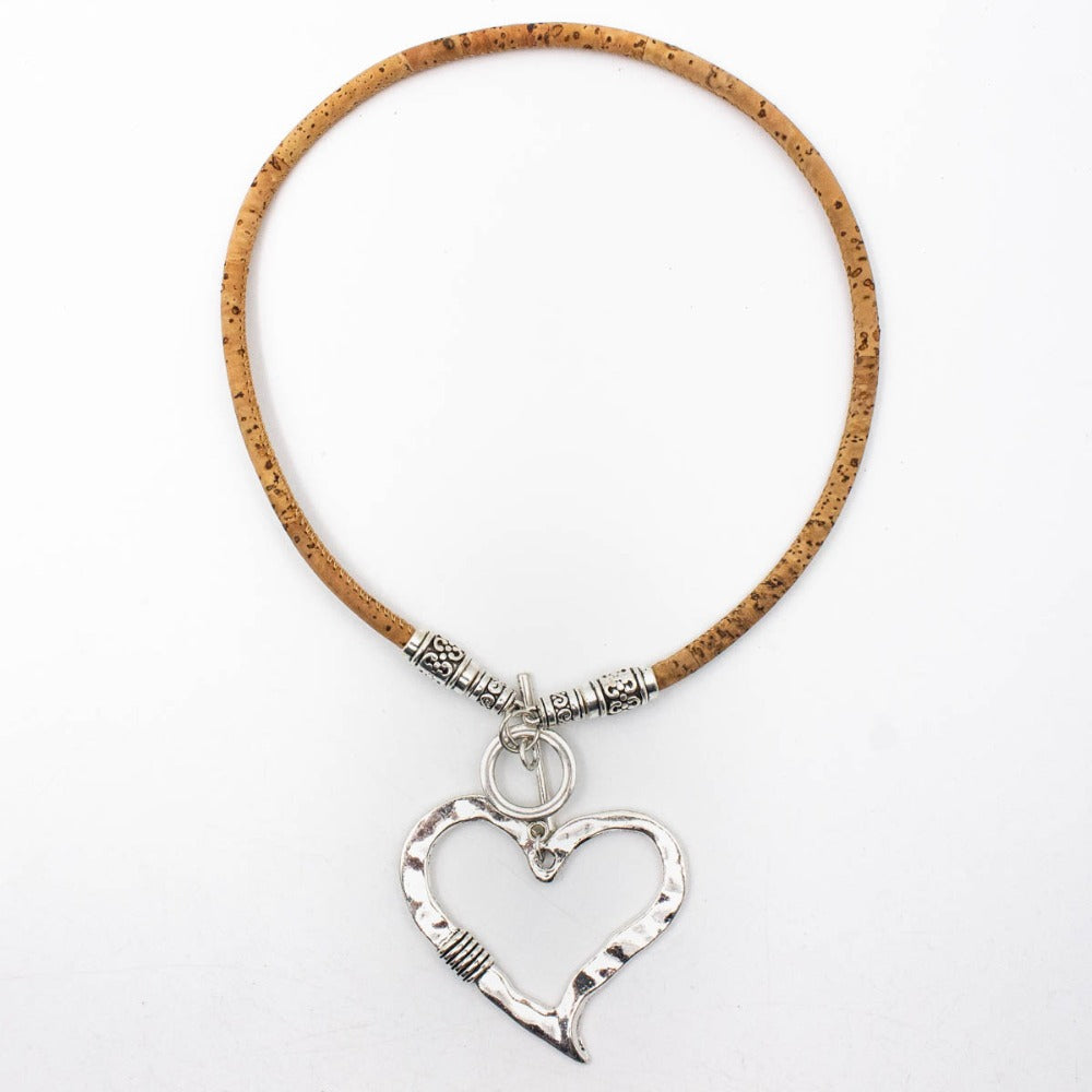 necklace, Heart Sketch Necklace - movevegan, vegan fashion product trends, cork, animal free