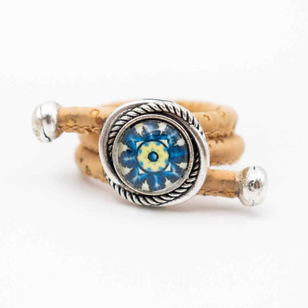 ring, ''blue eye'' ceramic tile ring - movevegan, vegan fashion product trends, cork, animal free