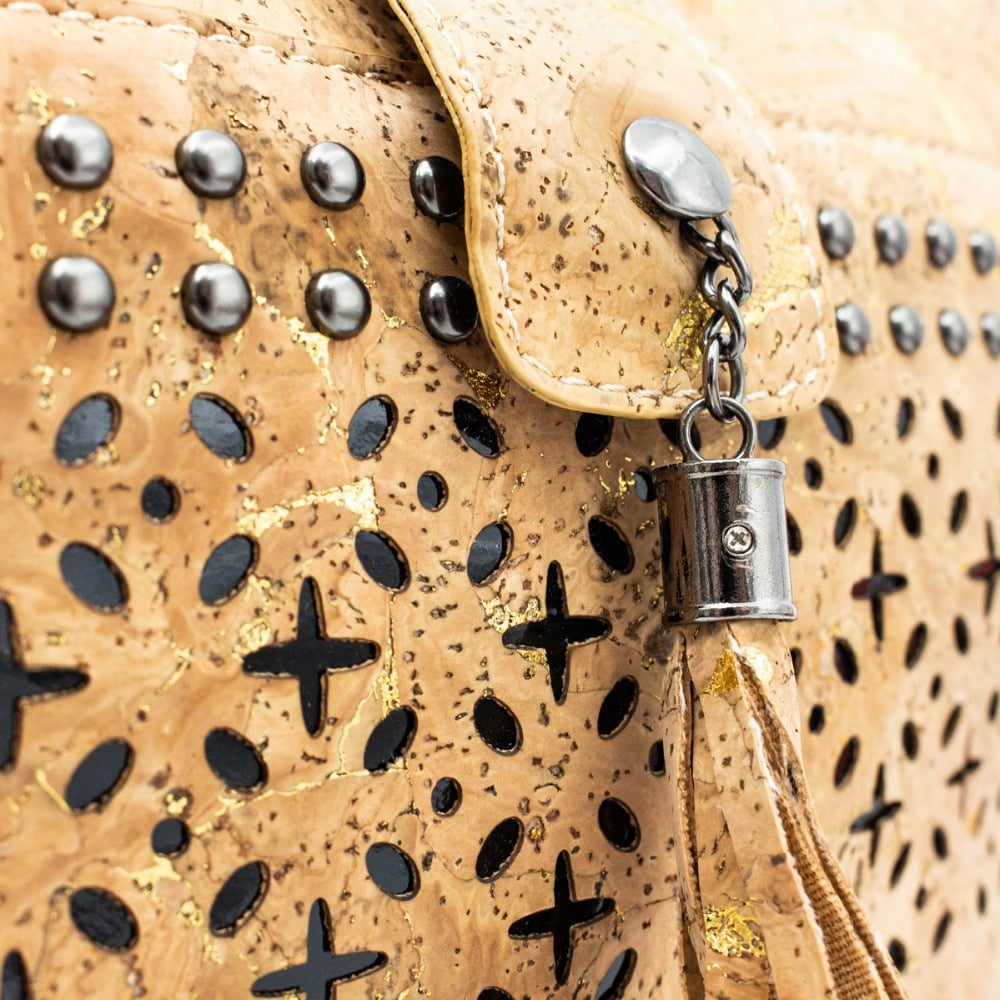 handbag, Western style tote bag with laser cut and black studs - movevegan, vegan fashion product trends, cork, animal free