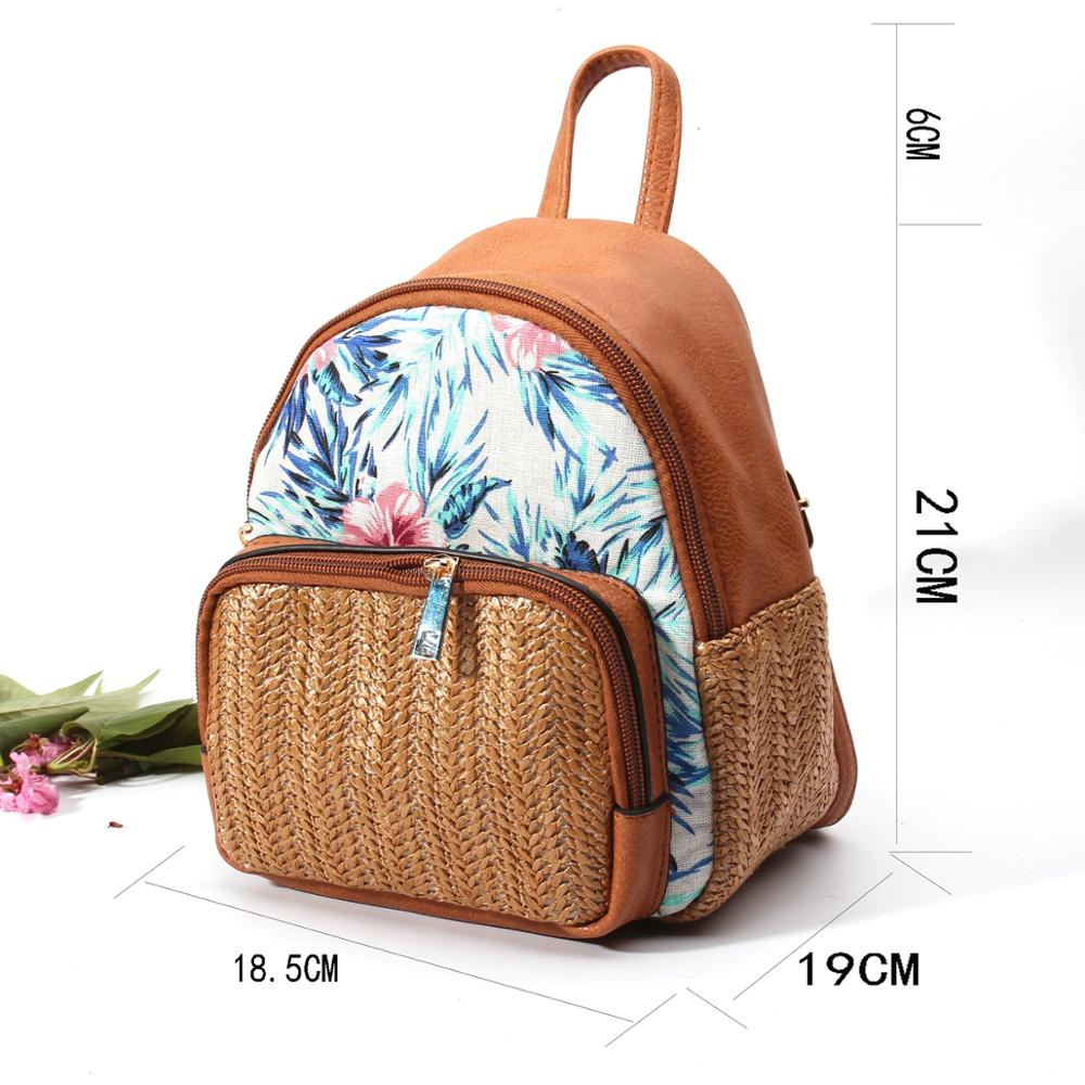 backpack, Brown PU Leather Backpack with Woven Straw - movevegan, vegan fashion product trends, cork, animal free