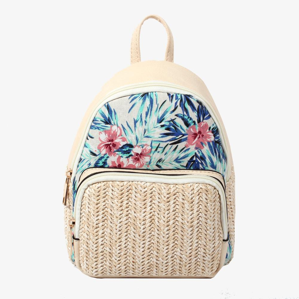 backpack, White PU Leather Backpack with Woven Straw - movevegan, vegan fashion product trends, cork, animal free