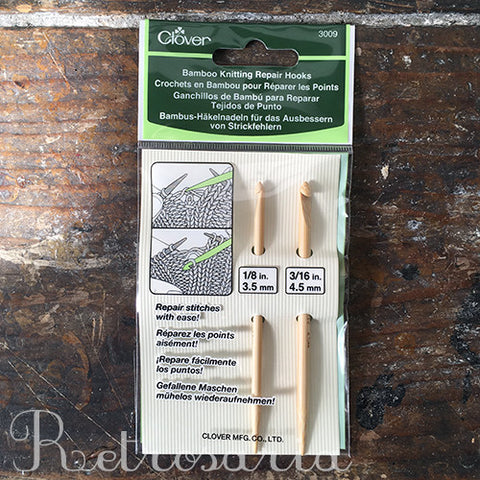Clover Bamboo Knitting Repair Hooks