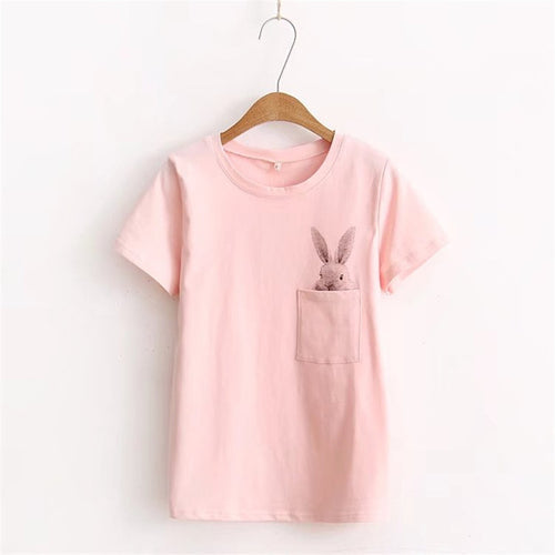 Summer T-Shirt Women Lady Top Cotton Female Printed Pocket Rabbit