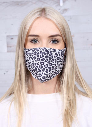 WHITE LEOPARD ADJUSTABLE FACE MASK
