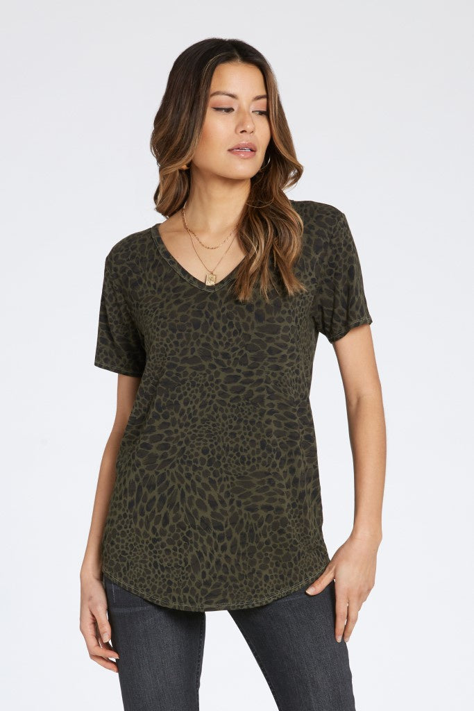 green leopard print v-neck top