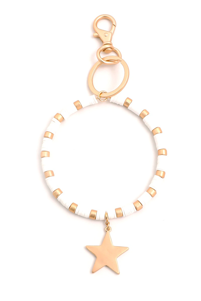 O RING BRACELET KEY RING WITH GOLD STAR CHARM