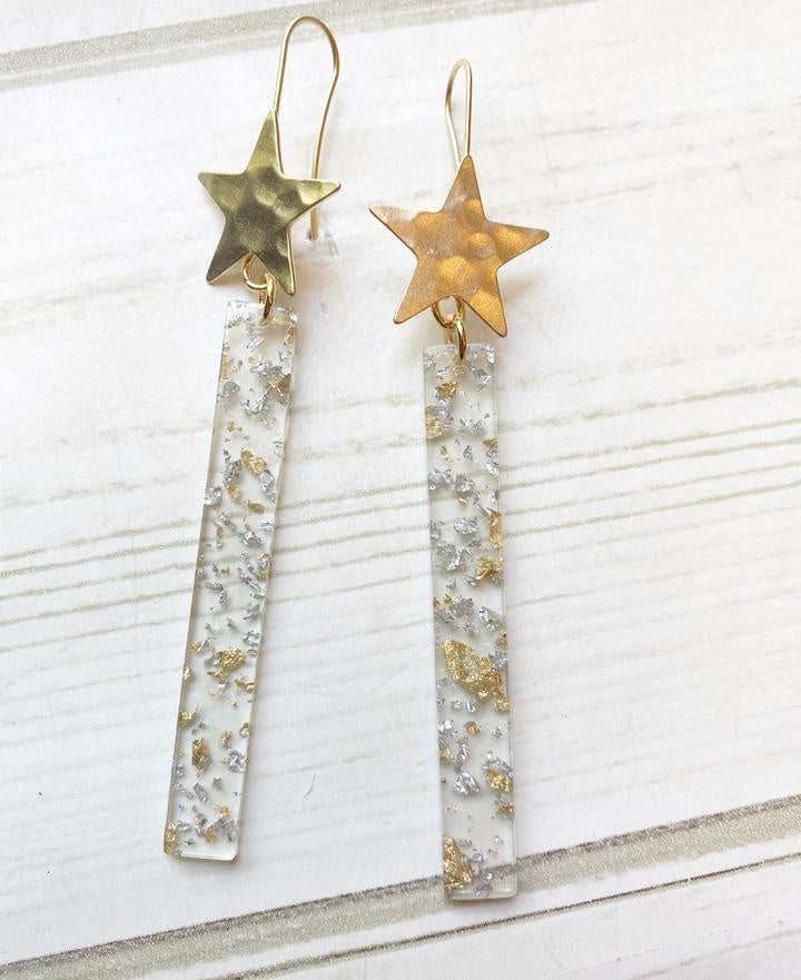 Gold Hammered Star Gold & Silver Foil Acrylic Bar Earrings-Bella Lucca Boutique