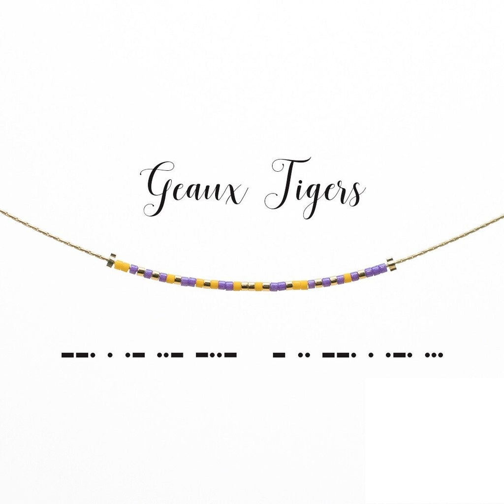 MORSE CODE NECKLACE - GEAUX TIGERS