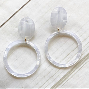 Lightweight Acrylic Post Hoops white prism earrings