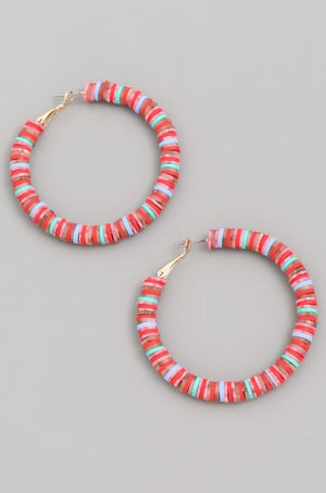 DISC BEADED HOOP EARRINGS