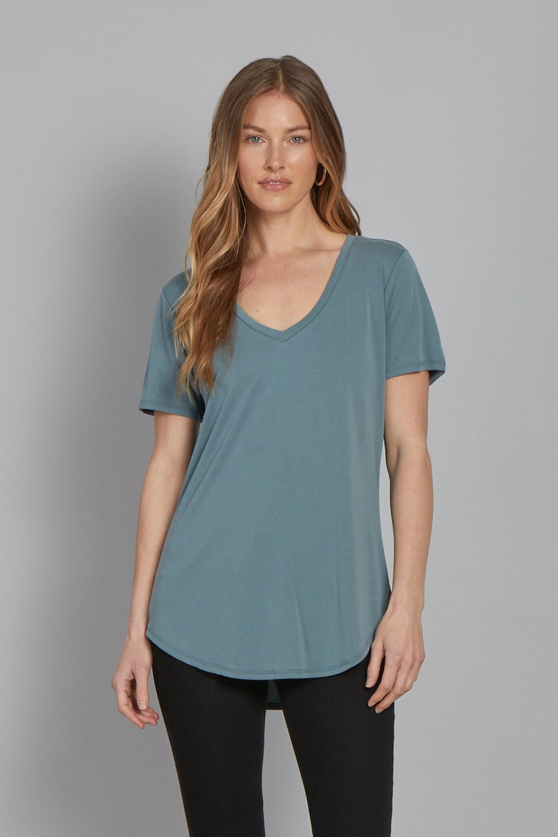 The Valentina Relaxed V-Neck Top-Soft Moss