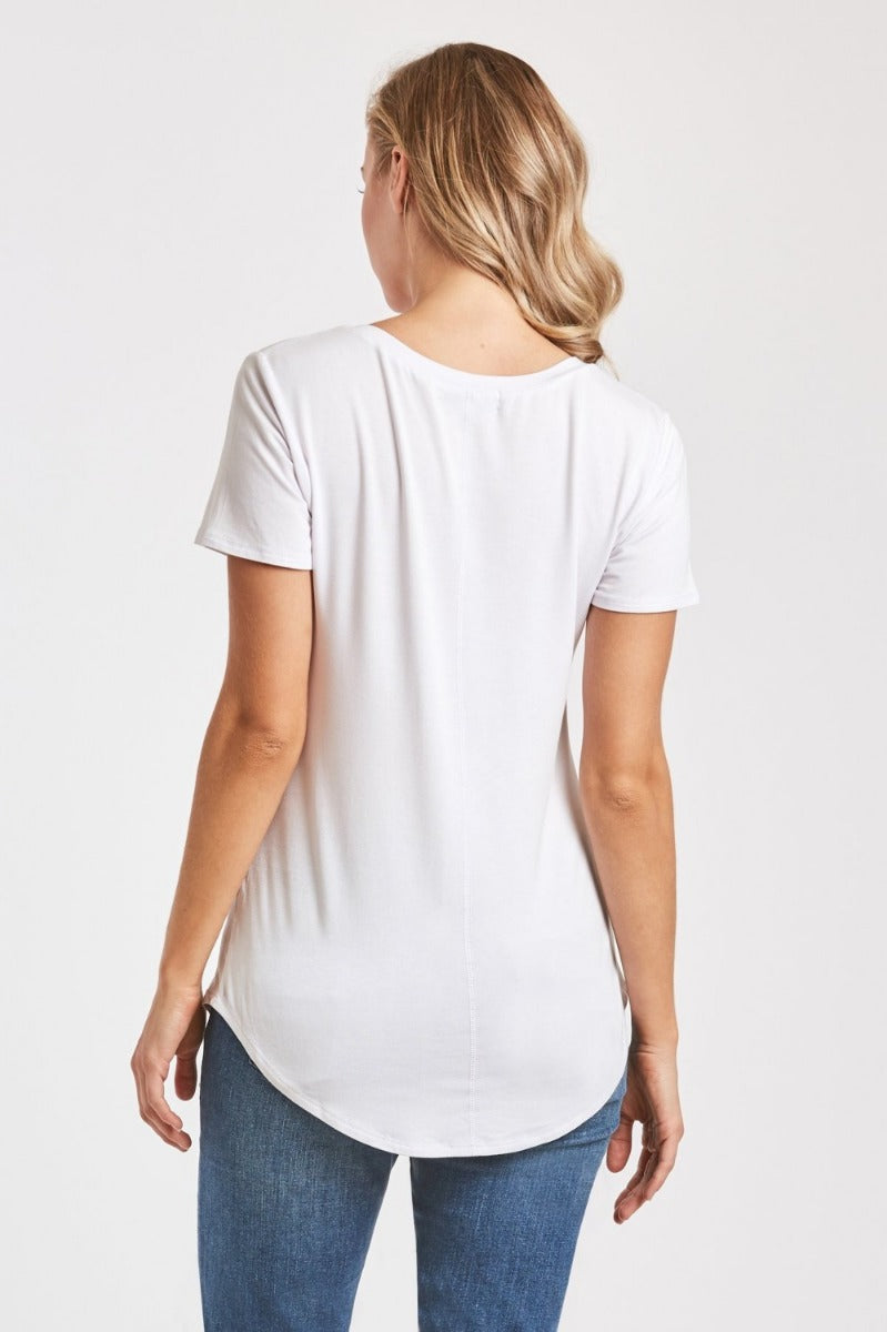 Phoenix Pocket V-neck Tee-White