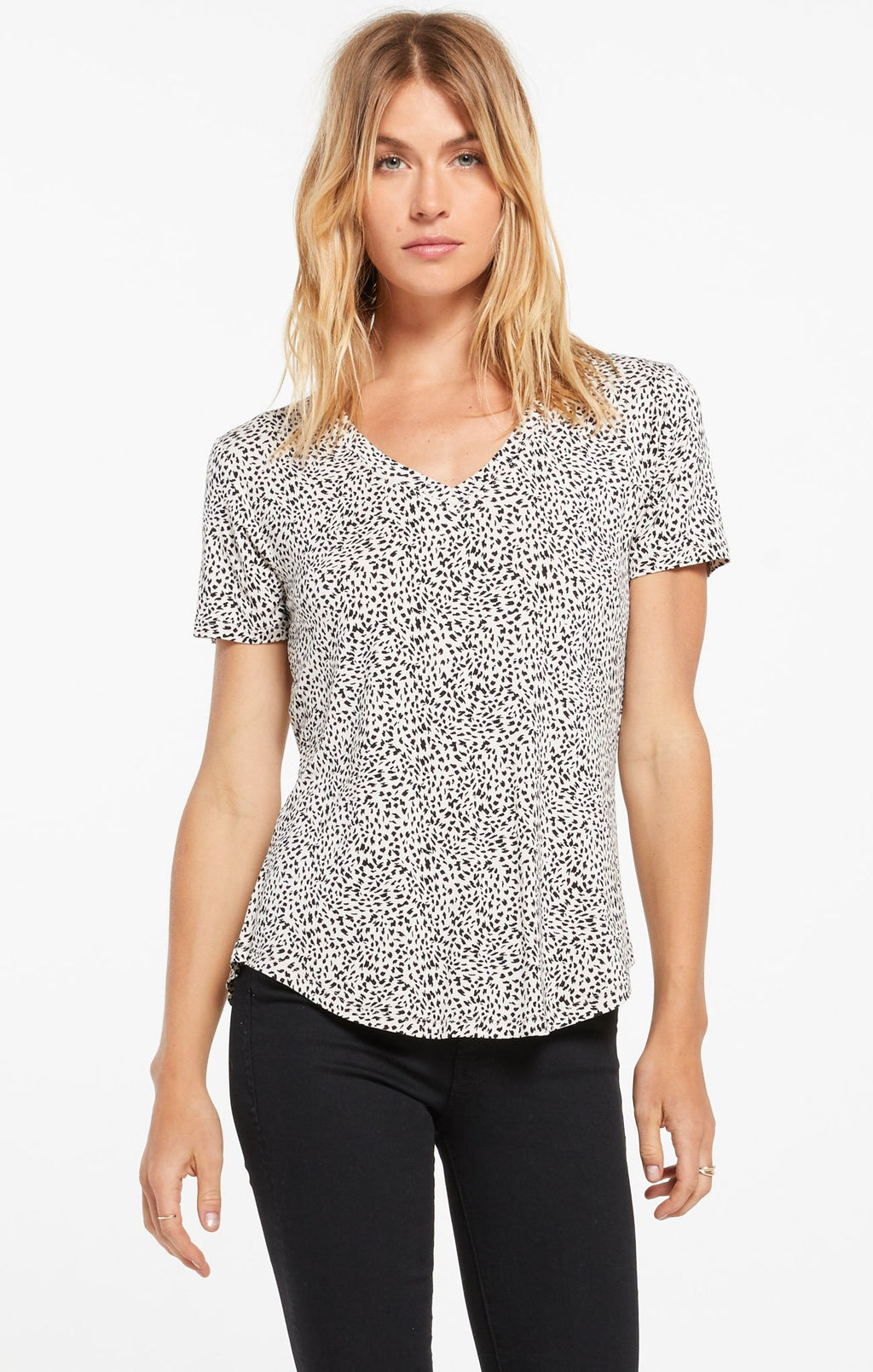 Z Supply Mini Leopard Sleek Tee-Sandshell