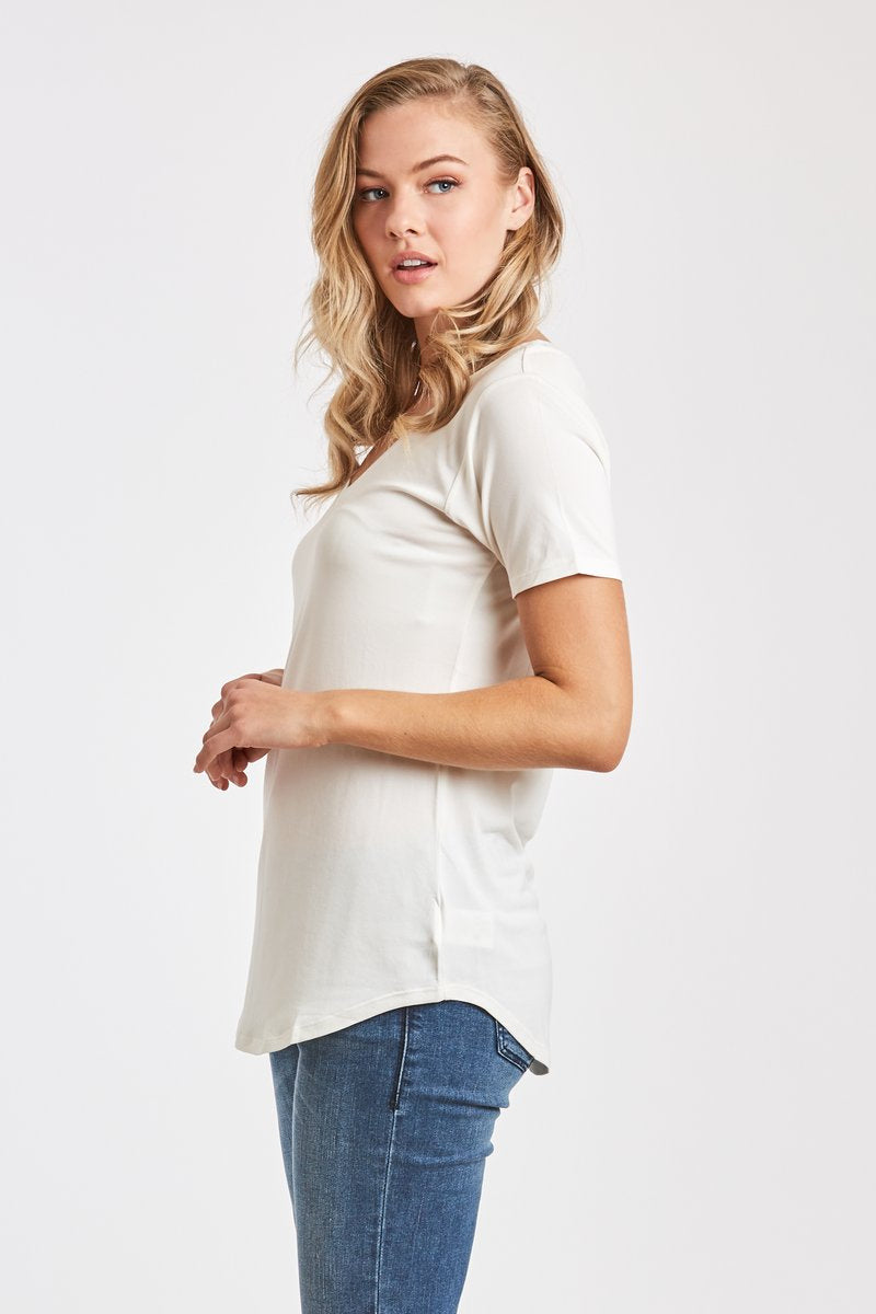 The Valentina Relaxed V-Neck Top-White