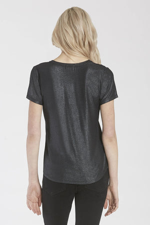 Valentina Relaxed V-Neck Top Black Shimmer