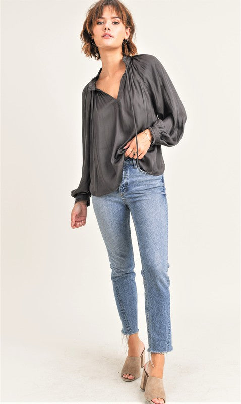 SILKY RUFFLE DETAIL BLOUSE | BLACK