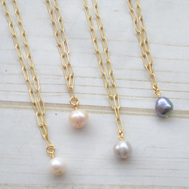 Gold Paperclip Necklace With Mini Pearl