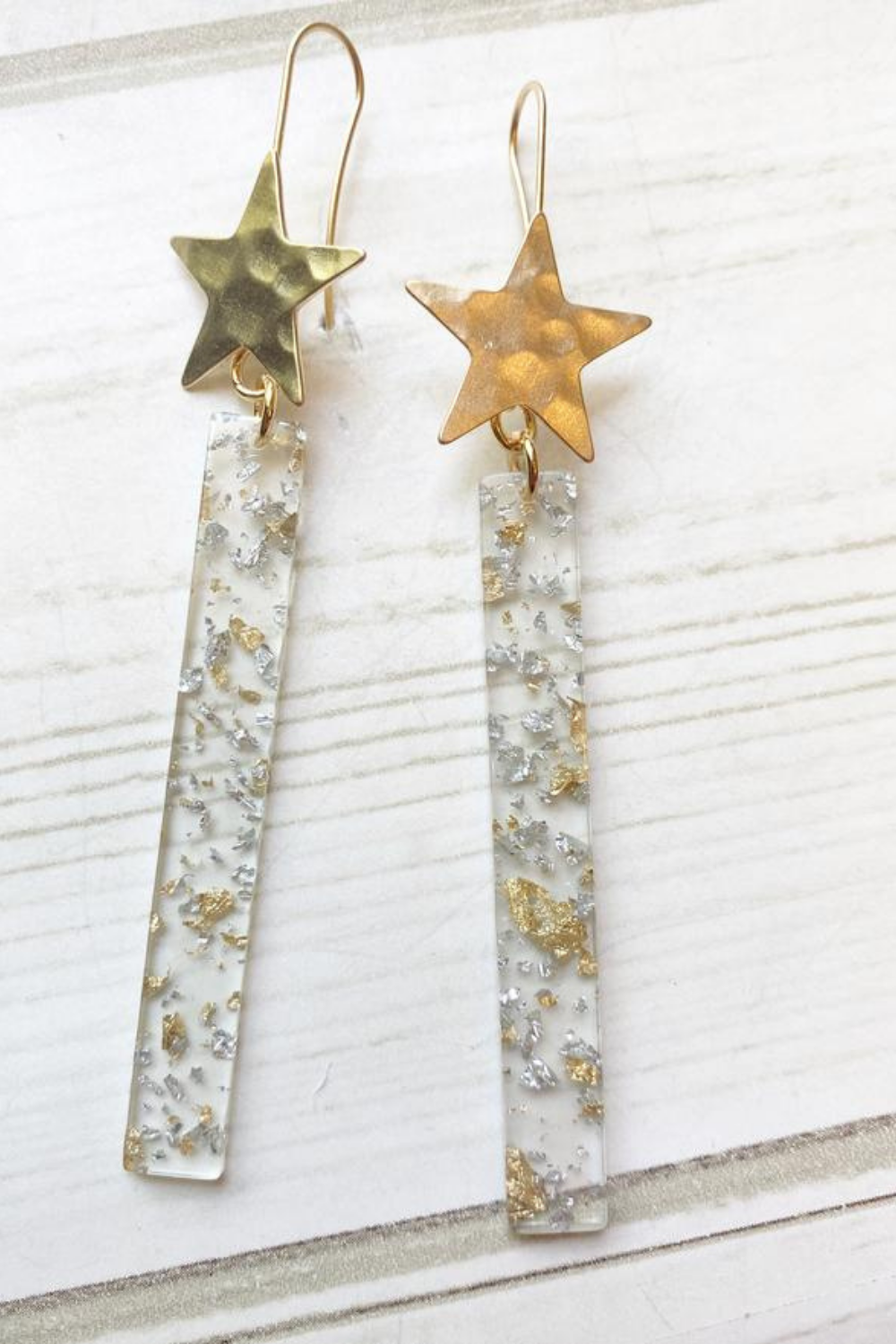 Hammered Star Acrylic Bar Gold & Silver Foil Clear Bar