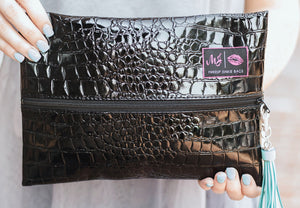 Midnight Gator Makeup Junkie Small Bag-Bella Lucca Boutique