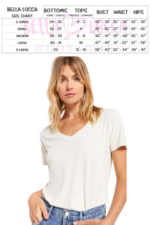 Size Guide Modal V-Neck Top | Bella Lucca Boutique