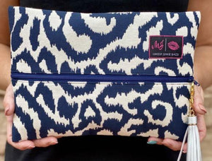Navy Swirl Makeup Junkie Small Bag-Bella Lucca boutique