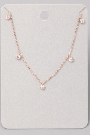 Dainty Rhinestone Necklace-Rose Gold