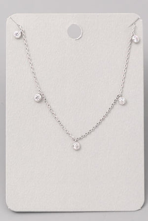 Dainty Rhinestone Necklace-Silver