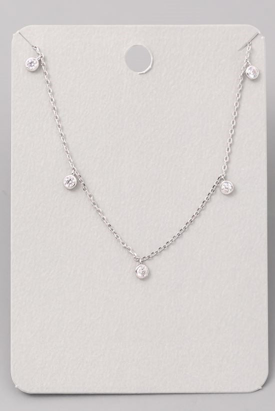 Dainty Rhinestone Necklace-Gold