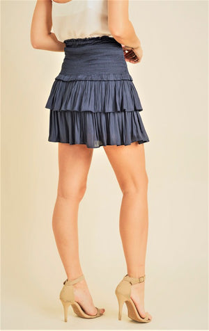 Silky Navy Layered Mini Skirt | Bella Lucca Boutique
